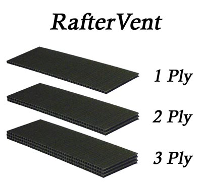 RafterVent comes in a variety of thickness
