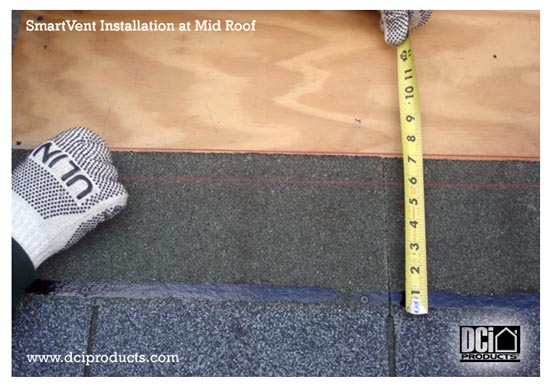 Shingle up to the area that requires the SmartVent.