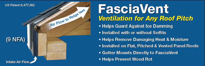 FasciaVent Ideal for low slope and retrofitting intake ventilation